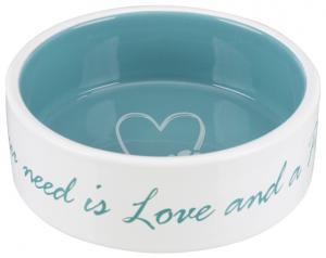 Pet's Home keramikskål, 0.3 l/ø 12 cm, cream/petrol