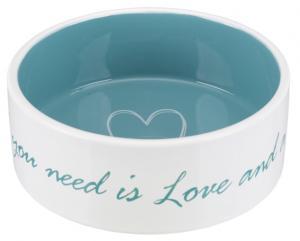 Pet's Home keramikskål, 0.8 l/ø 16 cm, cream/petrol