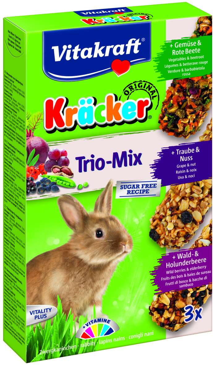 Kräcker Trio-Mix Gröns&Rödb /Druv&Nöt/ Skogs&Fl, Kanin