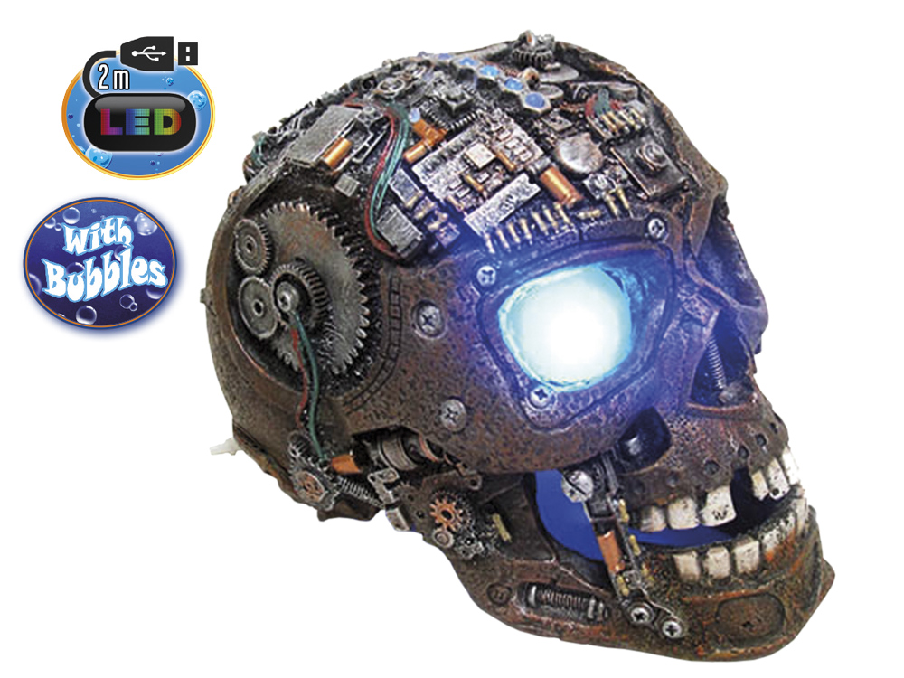 Aqua Ornaments LED Polyserin - Cyborgskalle - 20,8x13,7x15,0cm - Bubbel