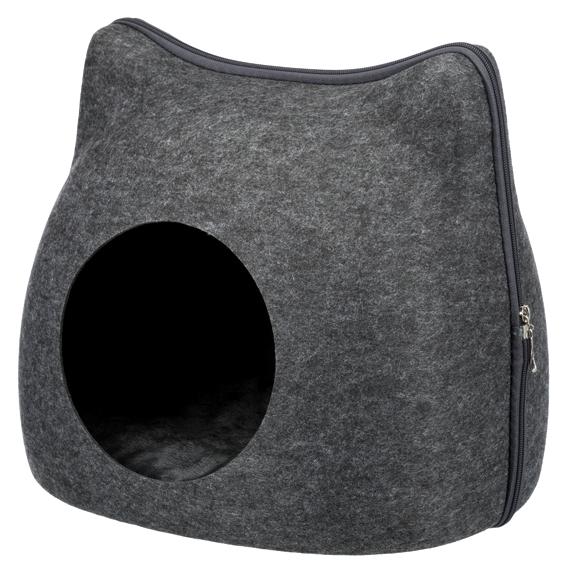 Kattigloo, filt, 38 × 35 × 37 cm, mörkgrå
