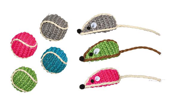 Boll och mus i sisal, 5 cm/ø 4 cm