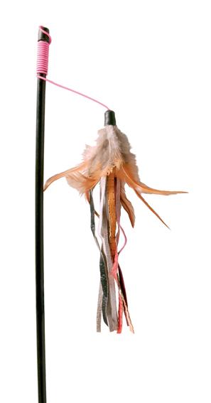 Kattleksak Vippa med läderband & fjäder 50 cm