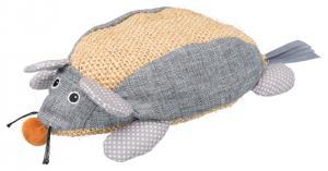 Kattleksak, mus XL, sisal/tyg, 30 cm, natural/grå