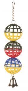 Fågelleksak 3 Nätbollar med klocka 16 cm