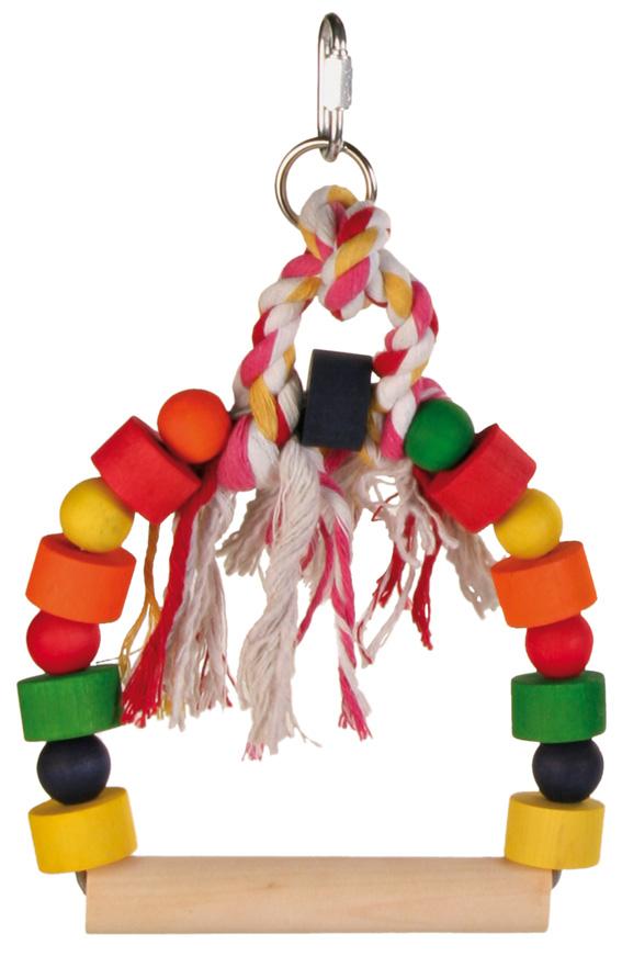 Fågelleksak, gunga med färgade träklossar, 13×19 cm