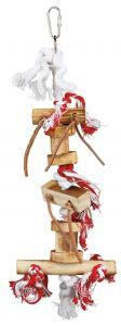 Fågellek trä/rep/läderband, 35 cm