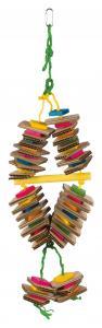 Fågelleksak, trä med pappdisketter, 18 × 35 cm