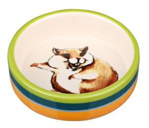 Keramikskål hamster, 80 ml/ø 8 cm, multifrg/cream