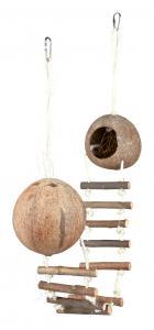 Kokosnöthus till hamster, dubbel, ø 13 × 100 cm
