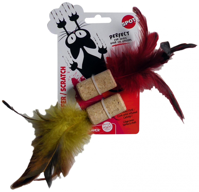 Kattleksak Kork med fjädrar Spot 4 cm