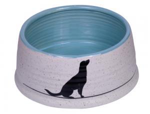 Skål Keramik - Luna - Ø15x6,5cm - Grå/Ljusblå
