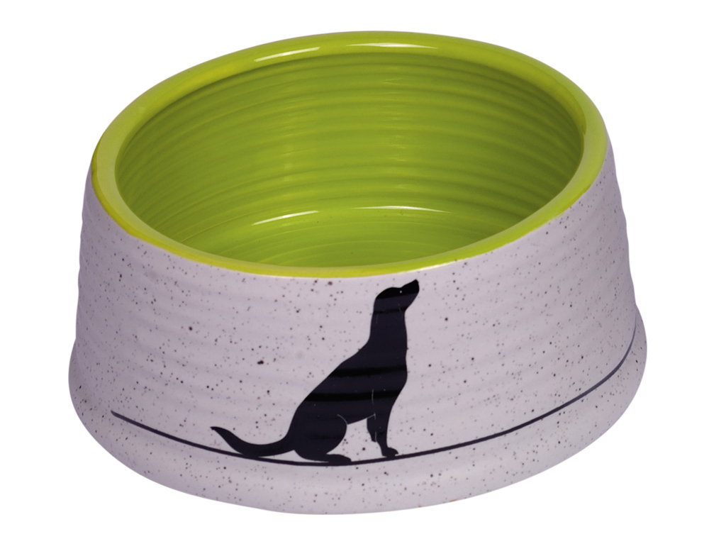 Skål Keramik - Luna - Ø15x6,5cm - Grå/Ljusgrön