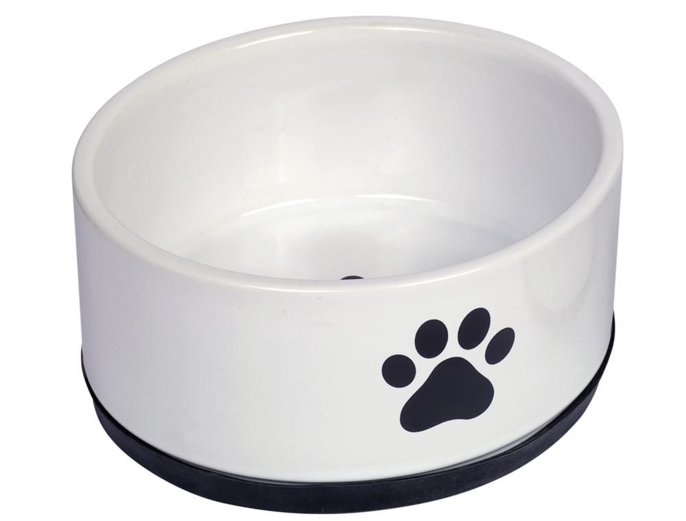 Skål Keramik - Paw - Ø17x8cm - Vit/Svart