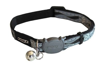 ROGZ NIGHTCAT HALSBAND XS SVART 8MM 16.5