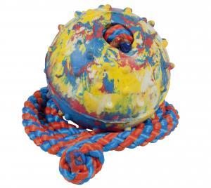 Hundleksak Boll gummi med rep Gappay L=50 cm d=5